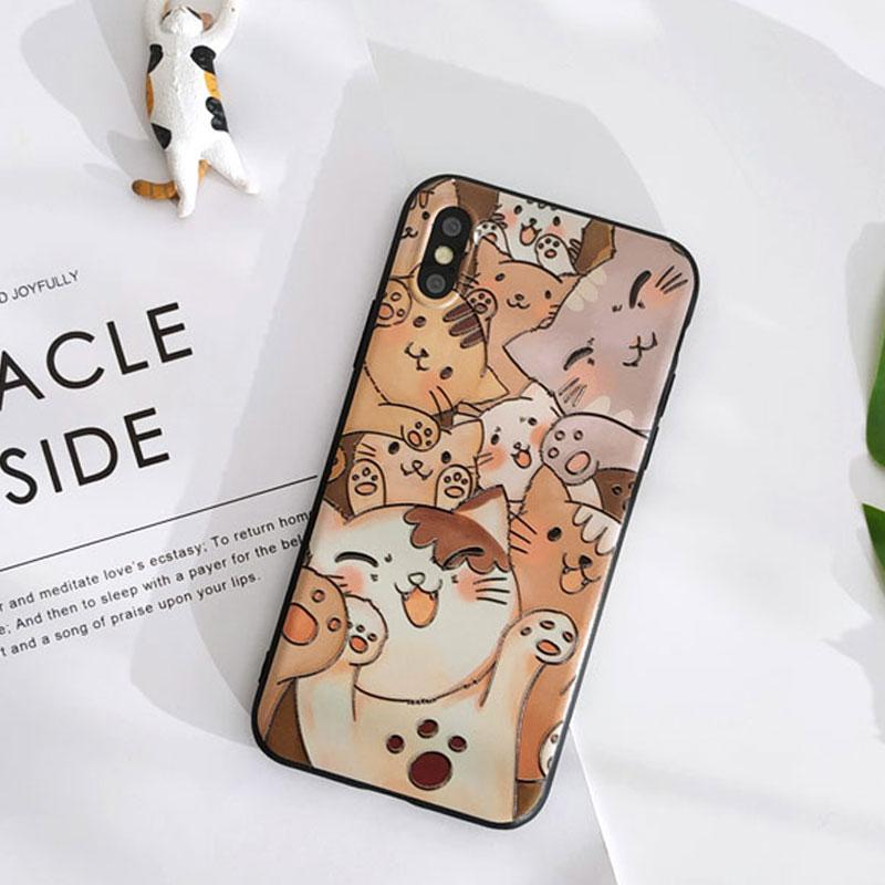 Modakawa Phone Case Cartoon Cat Smiley Print Silicone Phone Case