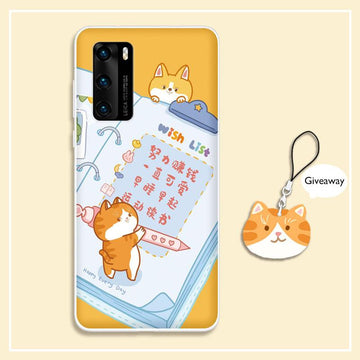 Modakawa Phone Case Cartoon Cat Wish List Print Silicone Phone Case