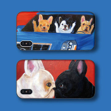 Modakawa Phone Case Cartoon Dog Print Silicone Phone Case