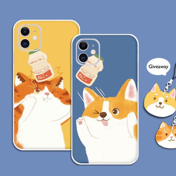 Modakawa Phone Case Cartoon  Drinks Cat Dog Print Silicone Phone Case