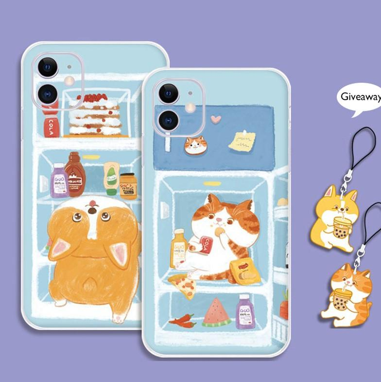 Modakawa Phone Case Cartoon Food Cat Dog Print Silicone Phone Case