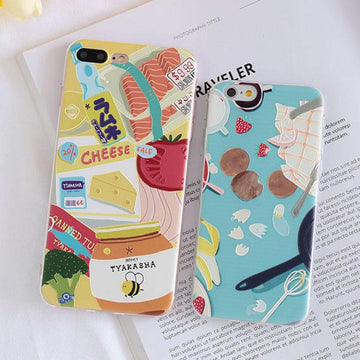 Modakawa Phone Case Cartoon Food Fruit Print Silicone Phone Case