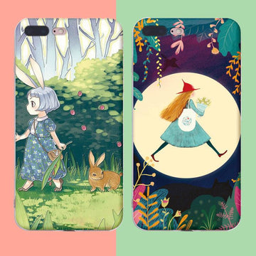 Modakawa Phone Case Cartoon Girl Plant Print Silicone Phone Case