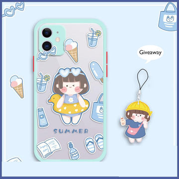 Modakawa Phone Case Cartoon Girl SUMMER Print Silicone Phone Case