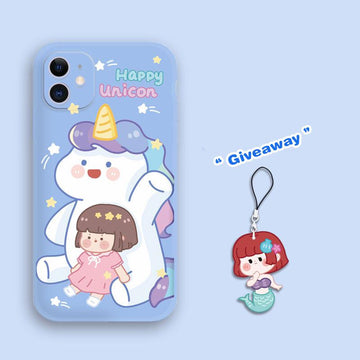 Modakawa Phone Case Cartoon Girl Unicorn Print Silicone Phone Case