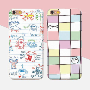 Modakawa Phone Case Cartoon Graffiti Plaid Print Silicone Phone Case