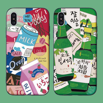 Modakawa Phone Case Cartoon Snacks Drinks Wine Print Silicone Phone Case