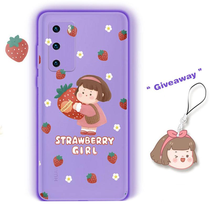 Modakawa Phone Case Cartoon Strawberry Girl Print Silicone Phone Case