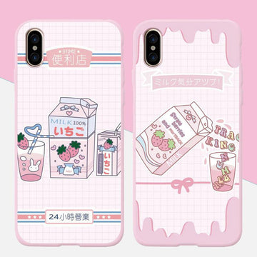 Modakawa Phone Case Cartoon Strawberry Milk Print Silicone Phone Case