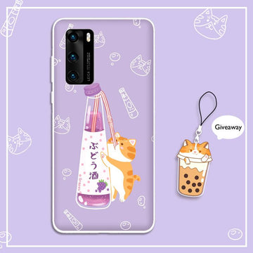 Modakawa Phone Case Cartoon Wine Cat Print Silicone Phone Case
