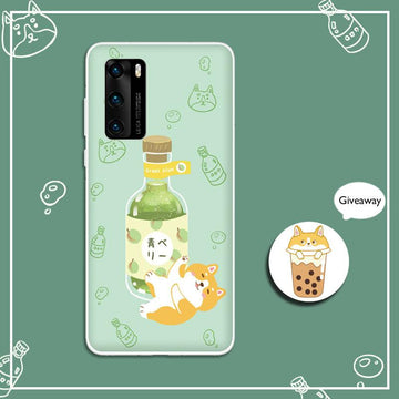 Modakawa Phone Case Cartoon Wine Dog Print Silicone Phone Case