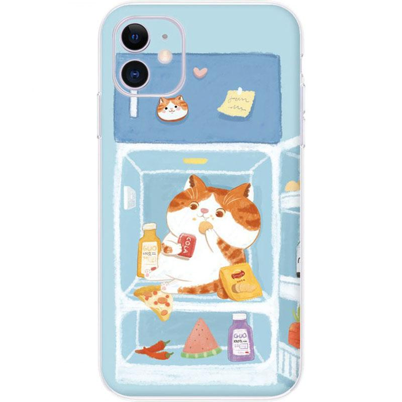 Modakawa Phone Case Cat / iPhone 6/6s Cartoon Food Cat Dog Print Silicone Phone Case