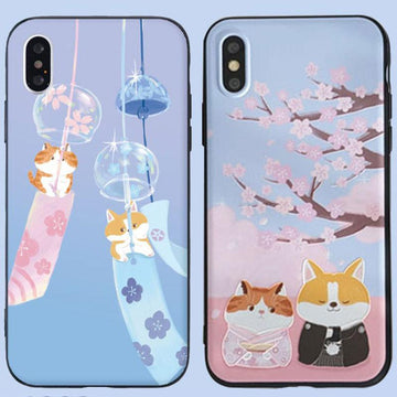 Modakawa Phone Case Couple Cartoon Cat Dog Sakura Print Silicone Phone Case