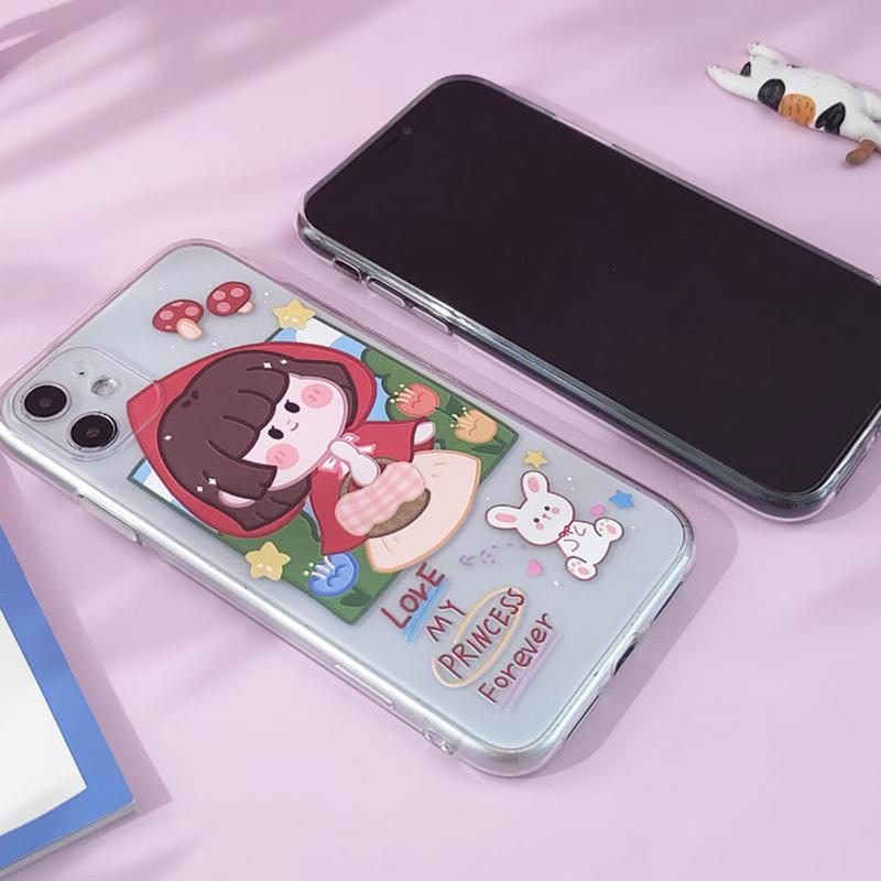 Modakawa Phone Case Couple Cartoon Little Red Riding Hood Print Silicone Phone Case