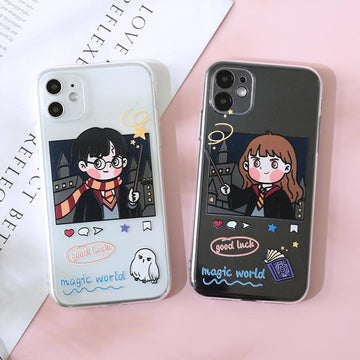 Modakawa Phone Case Couple Cartoon Magician Print Silicone Phone Case