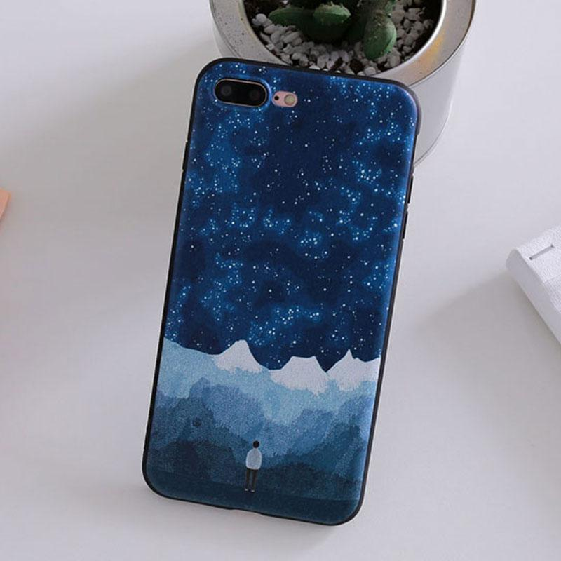 Modakawa Phone Case Couple Starry Sky Mountain Moon Print Silicone Phone Case