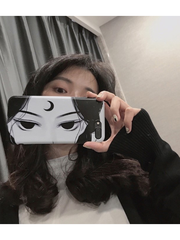 Modakawa Phone Case Eyes / iPhone5/5s/SE Phone Case Cartoon Print Matching Friends Selfie Face Shield