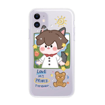 Modakawa Phone Case Little Wolf / iPhone 6/6s Couple Cartoon Little Red Riding Hood Print Silicone Phone Case