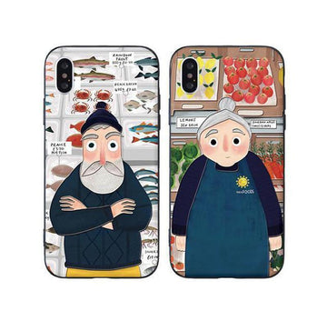 Modakawa Phone Case Matching Couple Phone Case Cartoon Character Print Silicone