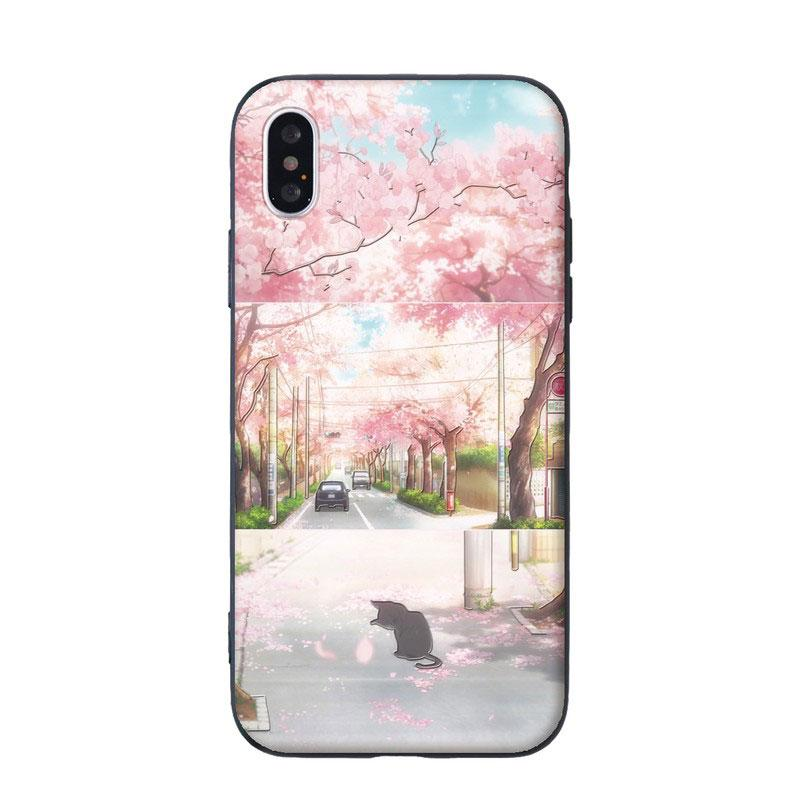 Modakawa Phone Case Pink / iPhone 6/6s Cartoon Cat Sakura Print Silicone Phone Case