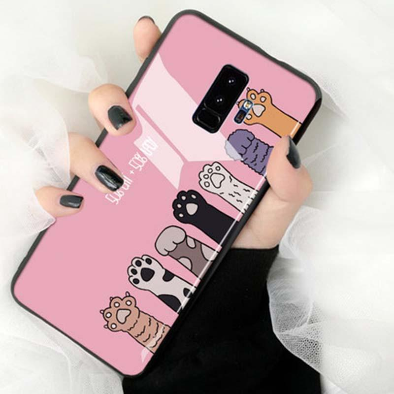 Modakawa Phone Case Pink / Samsung S9 Cartoon Print Phone Case Cat Claw Samsung