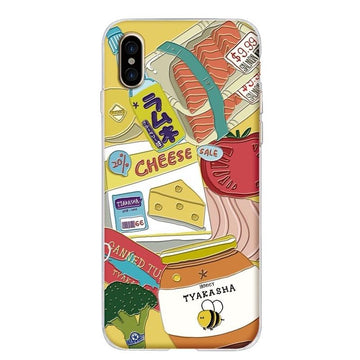 Modakawa Phone Case Yellow / iPhone 6/6s Cartoon Food Fruit Print Silicone Phone Case