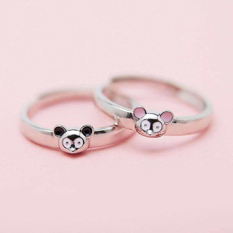 Modakawa Rings Adjustable Couple Mouse 925 Sterling Silver Ring