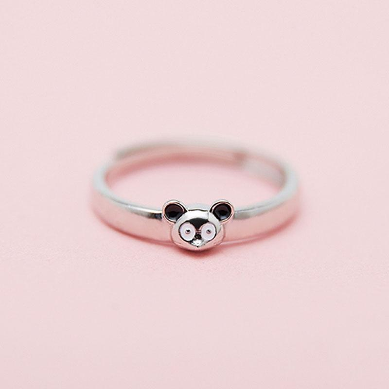 Modakawa Rings Black Ears / One Size Adjustable Couple Mouse 925 Sterling Silver Ring