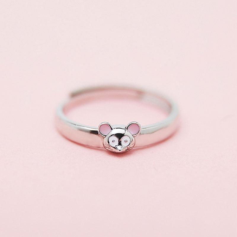 Modakawa Rings Pink Ears / One Size Adjustable Couple Mouse 925 Sterling Silver Ring