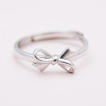 Modakawa Rings Silver / One Size Adjustable Bow Knot 925 Sterling Silver Ring