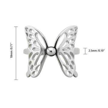 Modakawa Rings Silver / One Size Adjustable Butterfly Hollow 925 Sterling Silver Ring