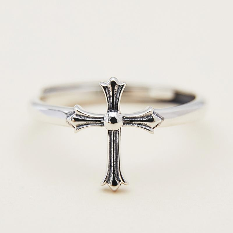 Modakawa Rings Silver / One Size Adjustable Cross 925 Sterling Silver Ring