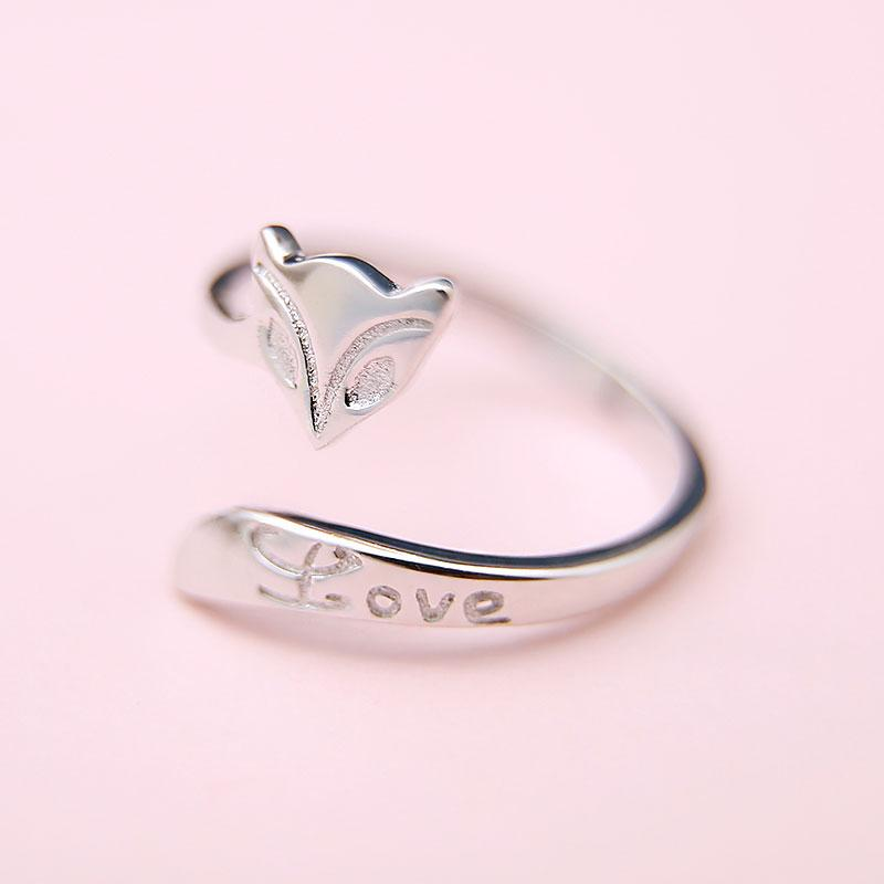 Modakawa Rings Silver / One Size Adjustable Fox LOVE Letter 925 Sterling Silver Ring