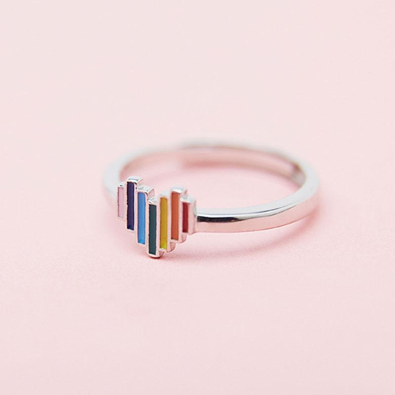 Modakawa Rings Silver / One Size Adjustable Rainbow Love Heart 925 Sterling Silver Ring
