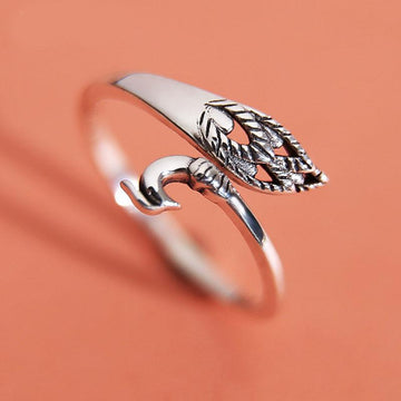 Modakawa Rings Silver / One Size Adjustable Vintage Peacock 925 Sterling Silver Ring