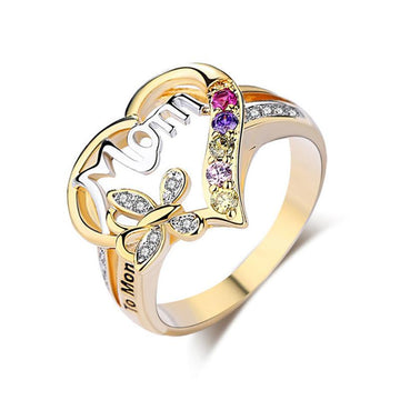 Modakawa Rings Yellow / 5 MOM Love Heart Butterfly Alloy Ring