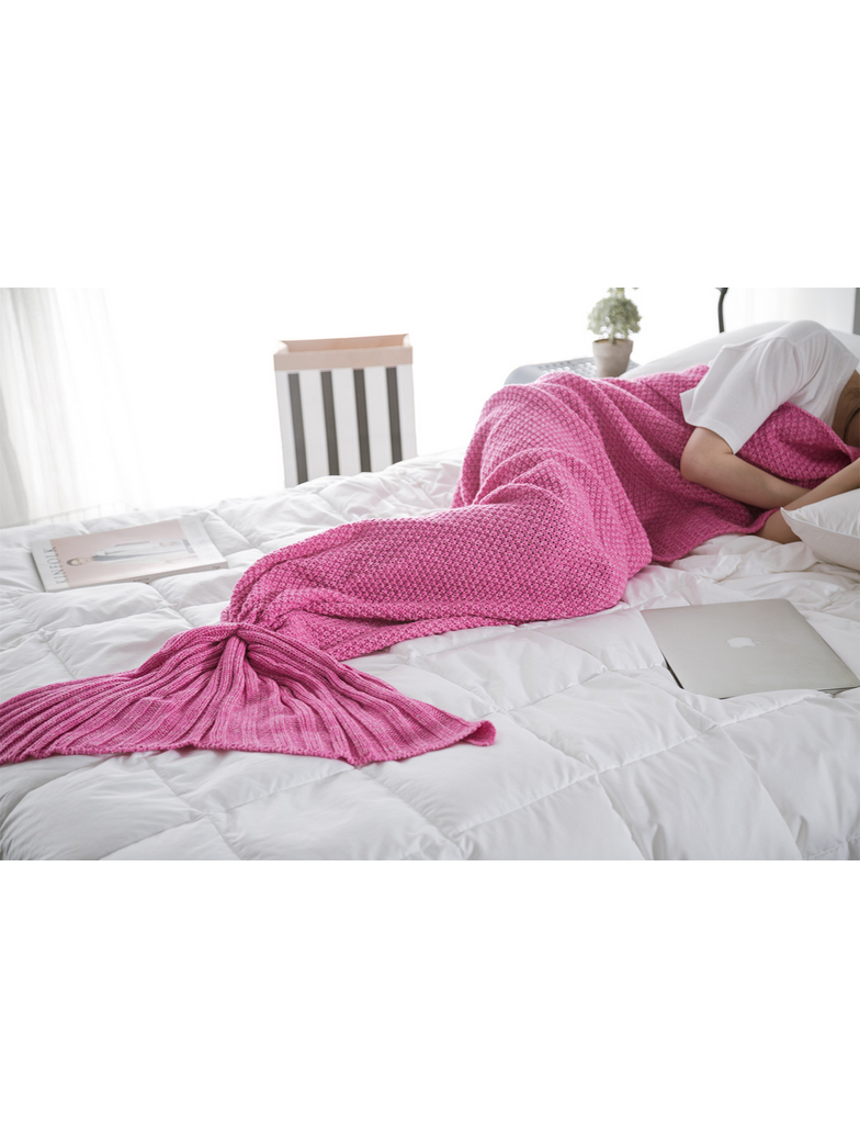Modakawa Rose Pink Candy Colors Mermaid Tail Acrylic Blanket 80X180CM