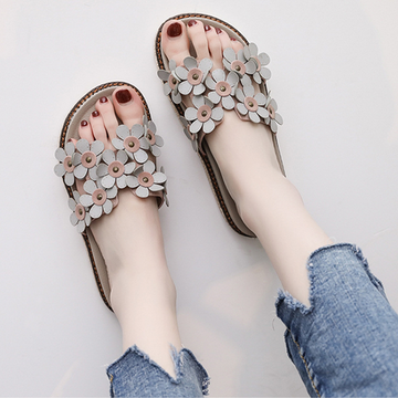 Modakawa Sandals Gray / 36 Kawaii Flat Flip Flops Sandals Shoes