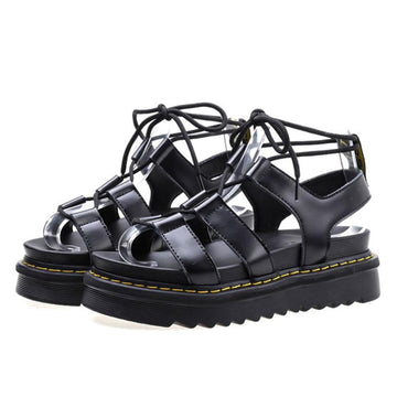 Modakawa Sandals Lace Up Roman Shoes Platform Pure Color Sandals