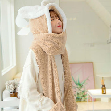 Modakawa Scarf Beige / One Size Bunny Ears Hat Scarf Gloves Warmer