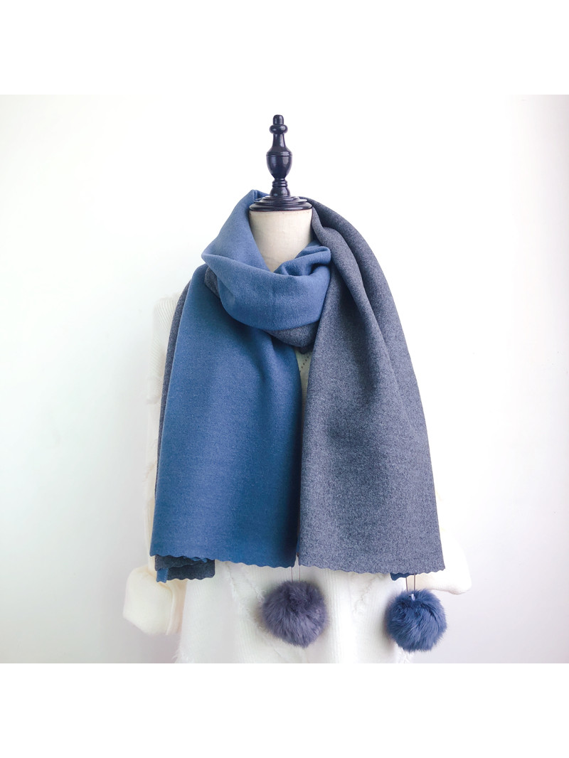 Modakawa Scarf Blue & Dark Gray Fuzzy Ball Color-Block Scarf