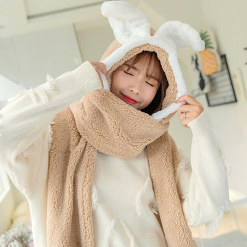 Modakawa Scarf Bunny Ears Hat Scarf Gloves Warmer