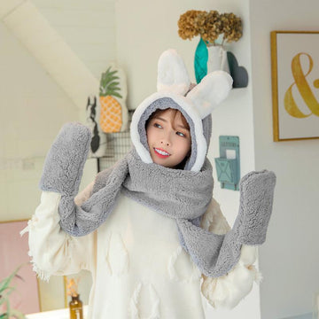 Modakawa Scarf Gray / One Size Bunny Ears Hat Scarf Gloves Warmer