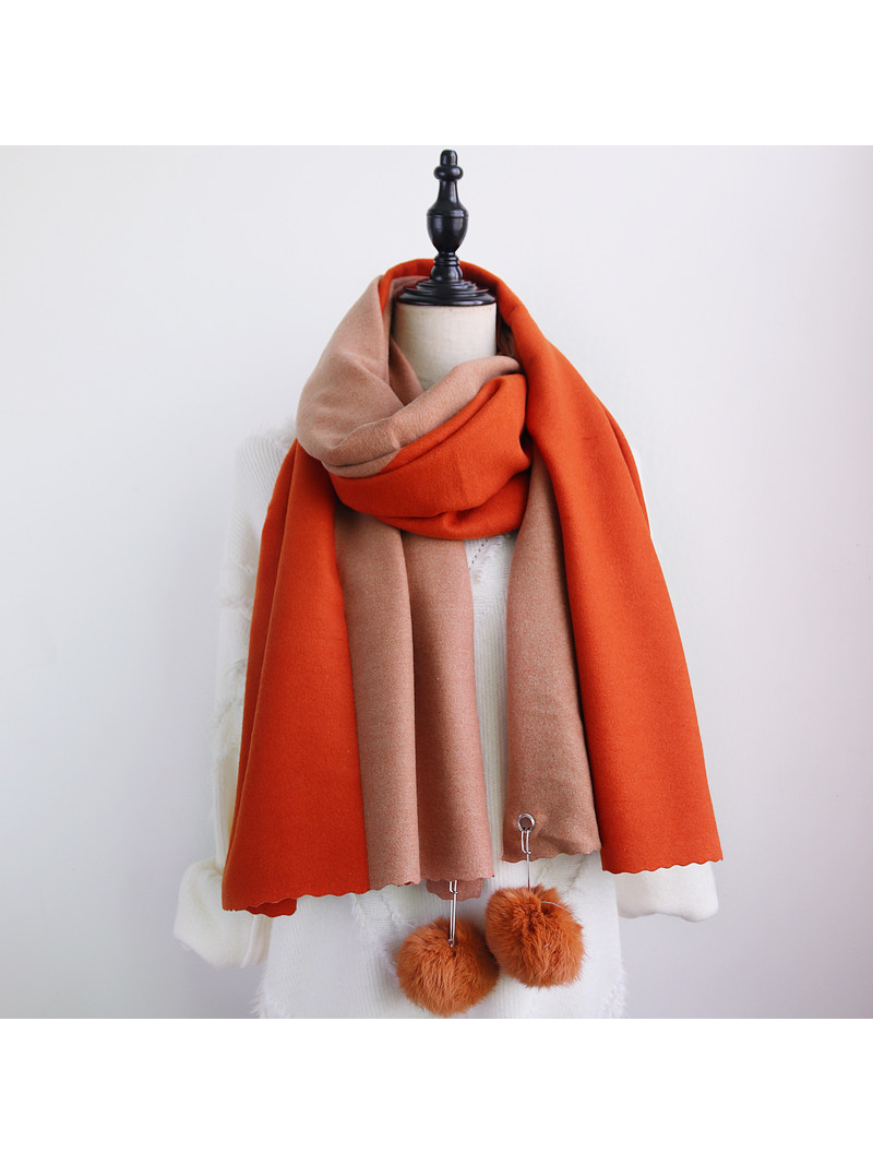 Modakawa Scarf Orange & Khaki Fuzzy Ball Color-Block Scarf