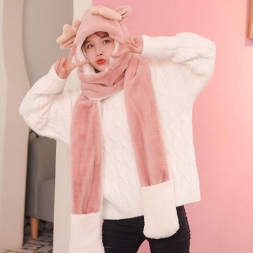 Modakawa Scarf Pink A / One Size Deer Antler Hat Scarf Gloves Warmer