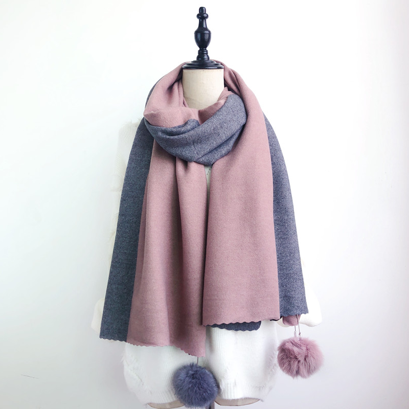 Modakawa Scarf Pink & Gray Fuzzy Ball Color-Block Scarf