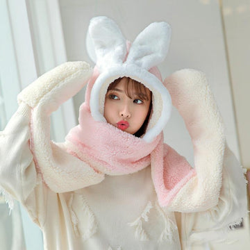 Modakawa Scarf Pink / One Size Bunny Ears Hat Scarf Gloves Warmer