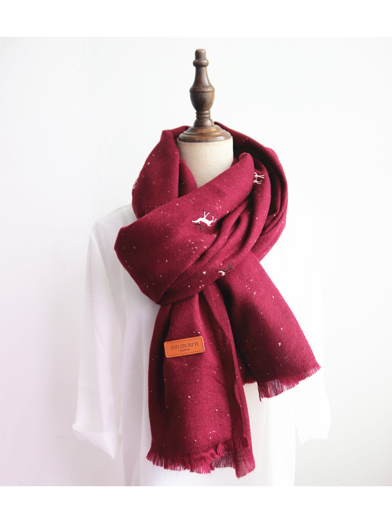 Modakawa Scarf Wine Red Christmas Reindeer Starry Scarf