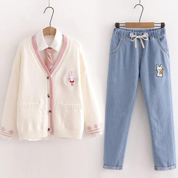 Modakawa Set Beige / M Cat Embroidered Cardigan Sweater Jeans Set
