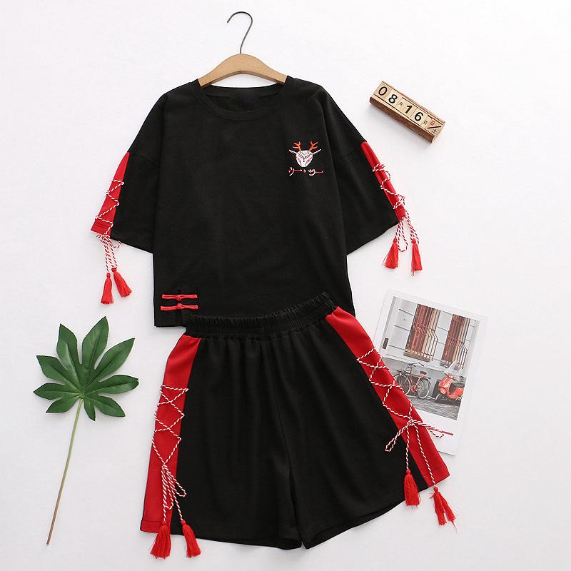 Modakawa Set Black / One Size Deer Embroidery Tassels Lace Up Frog Button T-Shirt Shorts Set